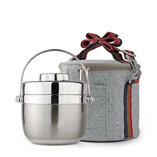 Lunch-Boxen Isolierte Lunchbox, Edelstahl Vakuum Bentos/Food Carrier/Food Behälter/Taffin Lunchbox Container Portion Control Container, halten warm für 3 Stunden (Silber, 1.5 L)