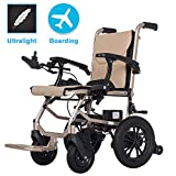 EMOGA Elektrischer Rollstuhl, Intelligente Automatische Elektrorollstuhl,16kg Aluminiumlegierung Faltbar Tragbare, Frei-Reiten,Sitzbreite 45cm,Abnehmbare Lithiumbatterie,Sitz Vertieft 6cm -