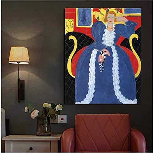 YaShengZhuangShi Cuadros de Pared 50x70cm Sin Marco Dama de Azul Henri Matisse Arte de la Pared Pintura en Lienzo Carteles Impresiones Pintura Moderna para la decoración del hogar de la Sala d