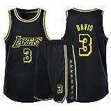 Rencai Ventiladores Anthony Davis Niños Niñas Baloncesto Jersey Fija, Los Angeles Lakers NO.3 Alero Joven Jerseys Chaleco del Verano Camisa + Cortocircuitos de Dos Piezas (Color : Black, Size : XS)