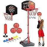 KAMDHENU Basketball Hoop, Kids Toy Basketball Hoop with Darts Target 2 in 1 with Height-Adjustable 3.2ft-6.2ft, Portable Basketball Hoop Indoor and Outdoor Activities for Kids Age 3-8