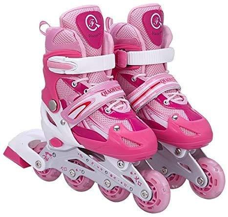 Tante Tina Kinderinliner größenverstellbar mit leuchtenden Rollen - Inlineskates für Kinder verstellbar in 4 Größen - Rosa - Größe S (30-34)