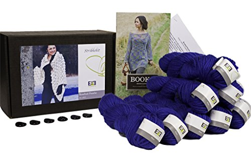 DesignEtte Knitting Kit, Rosebud Poncho, Puur wol, XL/2XL, Blauw