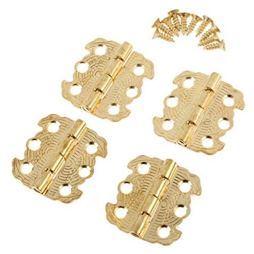 Xinqiankeji Gabinete de 4 Puertas Accesorios de Muebles de bisagra de joyería Caja de joyería Muebles de bisagra Mueble de Ajuste Bronce/Amber 29 * 27mm (Color : Gold)