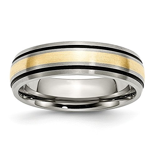 RoseCharm Beautiful Titanium Grooved 14k Yellow Inlay 6mm Brushed and Antiqued Band
