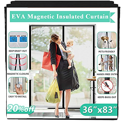 """Insulated Door Curtain, IKSTAR EVA Magnetic Door for Exterior/Interior/Kitchen Doors, Keep Draft Air Out, Pets/Kids Walk Through Free, with Full Frame Loop&Hook, Hands Free Closure Size 36""""x83"""""""