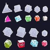 Keyzone Moldes de silicona de resina epoxi, 9 moldes para moldear, 3D, forma de cubo con número de resina para manualidades de juguetes