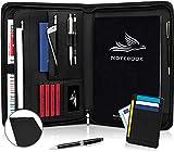 Royal Phoenix® Business Schreibmappe A4 Leder mit Reißverschluss | inkl. Klemmbrett +...