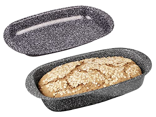 chg 3506-05 Brotback-/Bratenform mit Deckel Granito, Skandia Xtreme Plus: 4-fach Antihaftbeschichtung in Granitoptik, 37 x 20 x 7 cm