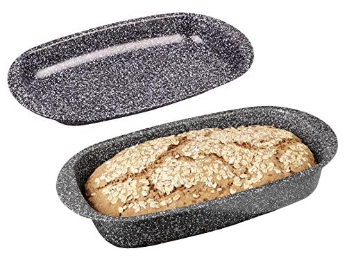 CHG &apos Teglia con Coperchio Granito, Skandia Xtreme Plus: 4Strati di Rivestimento Antiaderente in Granito, Effetto Granito, 37x 20x 7cm