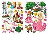 dekodino Wandtattoo Prinzessinen im Zauberwald Set Kinderzimmer Deko