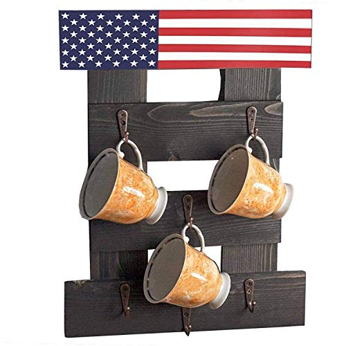 HOMEISJOY Premium Coffee Cup Holder Wall Mounted Rustic Coffee Mug Holder Wall Mounted Wall Mug Rack for Coffee Bar Decor Coffee Cup Rack with 6 Coffee Cup Hooks Rustic Brown with US Flag