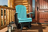 Furniture BarnUSA Outdoor Adirondack Glider Chair with Arms - Aruba Blue and Black Poly Lumber - Recycled Plastic