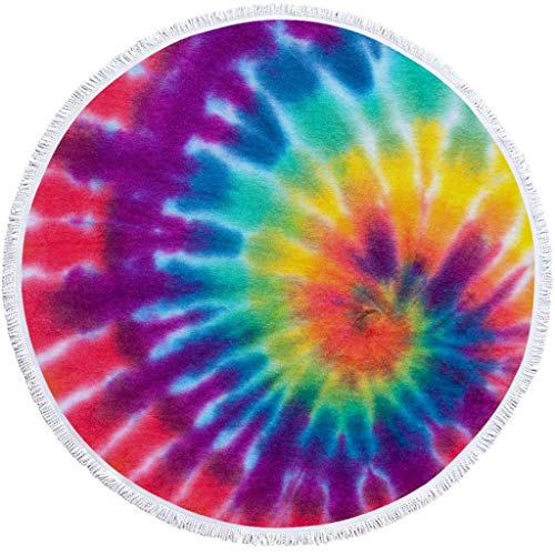 """Round Beach Towel Oversized Thick Beach Blanket Tassels 60'' Creative Rainbow Theme Ultra Water Absorbent Microfiber Camping Picnic Vacation Shower Yoga Mat Table Floor Cloth Pad (#Vision09, 60"""")"""