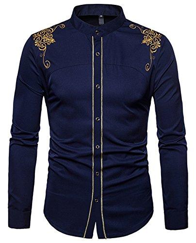 WHATLEES Camicia Casual Elegante Uomo - con Design Ricamato a Maniche Lunghe Blu