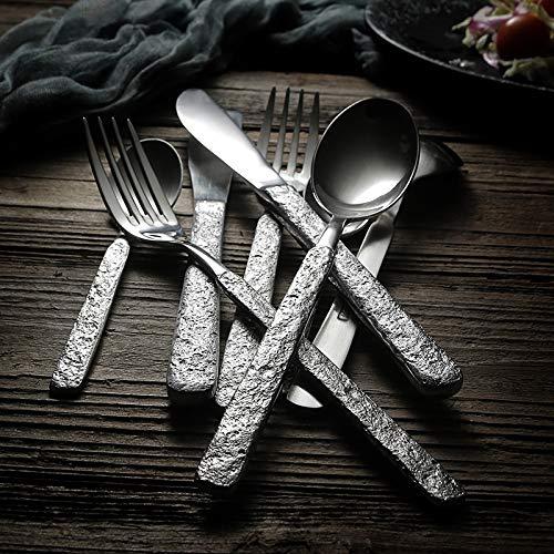 PPuujia Juego de 24 cubiertos de acero inoxidable 304, estilo japonés, estilo vintage, tenedores, cucharas, juego de vajilla mate antideslizante (color 24 piezas de oro rosa)