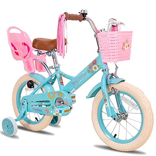 JOYSTAR Little Daisy 12 Inch Kids Bike for 2 3 4 Years Girls with Training Wheels Princess Kids Bicycle with Basket Bike Streamers Toddler Cycle Bikes Blue
