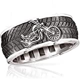 LH&BD Moto Anello per Pneumatici Moto Moto Moto Motociclista Groove Hip Hop Punk Rock Jewelry,8