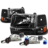 For Ford F-150 Branco 5th Gen 6Pc Black Housing Amber Corner Headlight + 9007 LED Conversion Kit