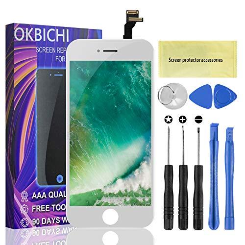 """OKBICHI Pantalla LCD Táctil Reemplazo para iPhone 6 (4.7""""), Ensamblaje de Marco Digitalizador con Herramienta de reparación y Protector de Pantalla (Blanco)"""