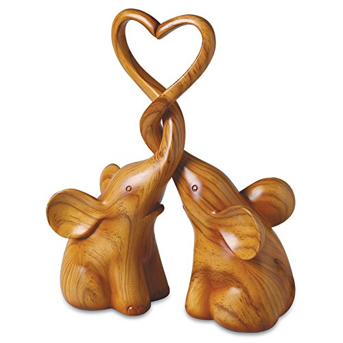 Two Piece Loving Elephants - Brown Intertwined Animal Pair Heart Sculpture, Home Decor Accent, Centerpiece