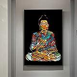 PEEKEON Bunte Drache Tattoo Buddha Zazen Religion Wandkunst