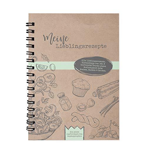bigdaygraphix Rezeptbuch zum Selberschreiben und Ausfüllen – DIN A4 Ringbuch mit Register & Hardcover - Kochbuch Backbuch Meine Lieblingsrezepte