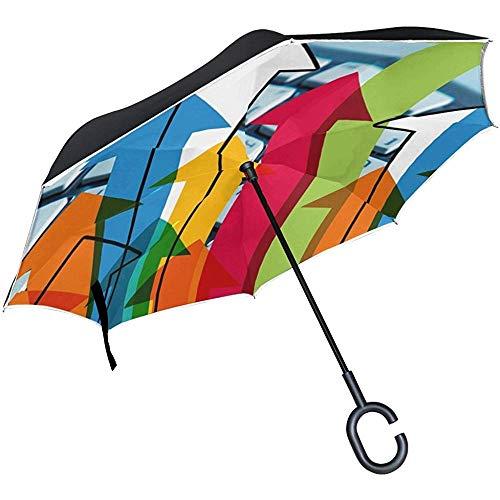 Alice Eva Inverted Umbrella Arrows Growth Hacking Tastatur Marketing Strategie Regenschirme Reverse Taschenschirm Big Straight Umbrella