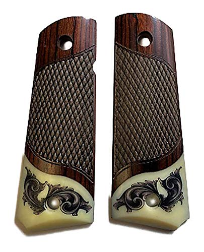 Premium Gun Grips Compatible Replacement for 1911 Colt Full Size Rosewood Grips w Faux Scrimshaw Ivory Accent