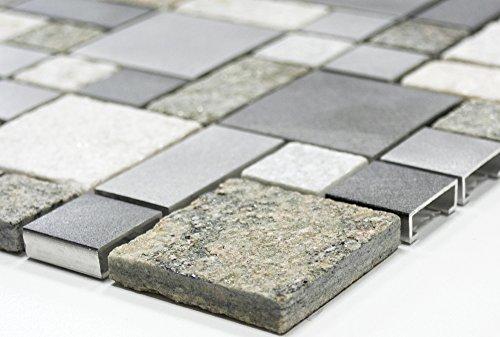 Lampada a mosaico mosaico piastrelle di rete combinazione quarzite,/alluminio Mix alluminio metallo