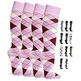 NewwerX 4 Paar Reit-Kniestrümpfe mit Karomuster, Reitstrümpfe wahlweise mit Polstersohle, Ökotex Reiter Kniestrümpfe in vielen Farben für Kinder, Damen & Herren (Pink - Normal, 39-42)