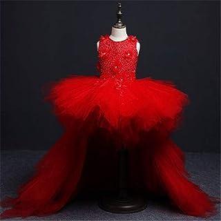 LYQ クリスマスのギフトの王女の服のための女の子の袖なしの花のチュチュの休日の王女の服 (色 : 赤, サイズ : 120)
