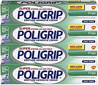 Super Poli-grip Denture Adhesive Cream Free Formula, 4 Count