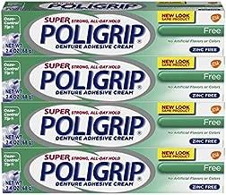 Super Poli-grip Denture Adhesive Cream Free Formula, 4 Count