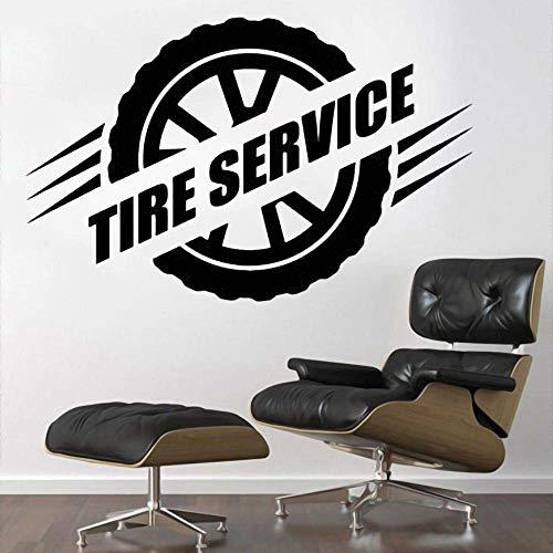Rueda Reparación De Neumáticos Arte De La Pared Pegatina Coche Garaje Tienda Decoración Extraíble 88X57 Cm Calcomanía