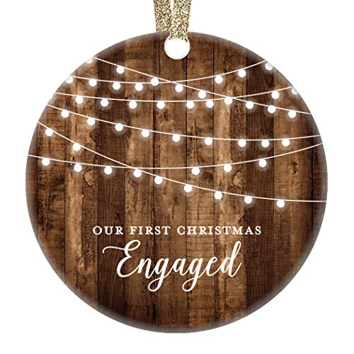 DIGIBUDDHA Engagement Keepsake Gifts First Christmas Engaged Ornament Newly Engaged Couple 1st Holiday Rustic Farmhouse Woodgrain Present 3' Flat Circle Porcelain with Gold Ribbon & Free Gift Box