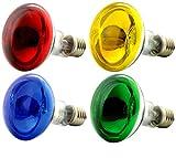 OmniaLaser OL-KIT4COLOR60 Kit 4 Lampadine Colorate ad incandescenza di Tipo Spot con riflettore/Specchio Cromato E27 60 Watt ognuna, Multicolore