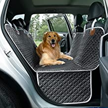 Lesure Dog Car Seat Cover for Back Seat for Dogs - Waterproof Pet Car Seat Covers with Anti Slip Dog Car Hammock with Storage Pocket & Dog Safety Belt, Dog Backseat Protector Trucks and SUVs, 54Wx58L