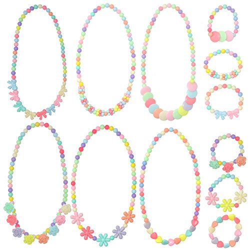 6 Sets Princess Necklace Little Girl Necklace, Yushulin Girls Jewelry Toddler Costome Jewelry for Kids