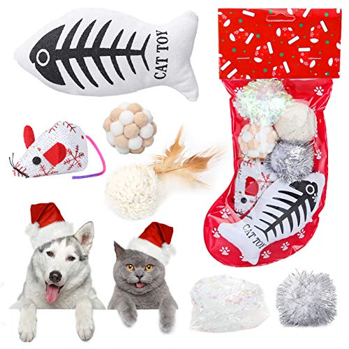 Sanlebi Christmas Cat Toys Stocking - 6 PCS Pet Cat Assorted Indoor Interactive Toys with Crinkle Ball Plush Fish X-mas Gift Set for Kitten Kitty