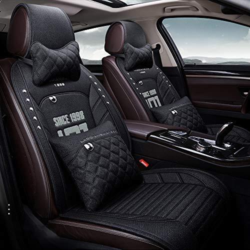 kangsheng Funda de asiento de coche de lino universal para mitsubishi pajero 4 2 sport outlander xl asx montero accesorios lancer 9 10 carisma seat cove (Negro, incluyendo almohadas)