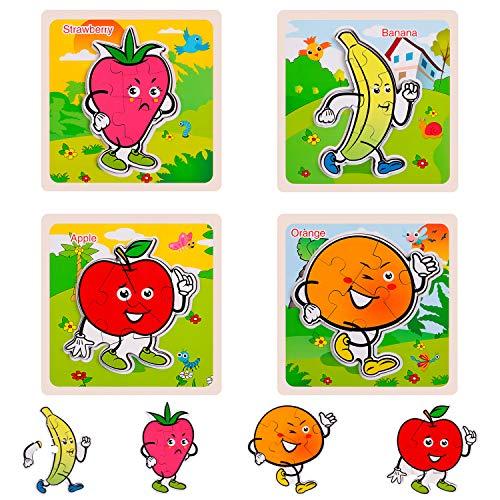 Rolimate Rompecabezas de Madera, Juego de Rompecabezas de Frutas Preescolares, Rompecabezas Educativo de Colores de Forma Juguetes Cumpleaños para 3 4 5 Añas Aiños (4 Paquetes)
