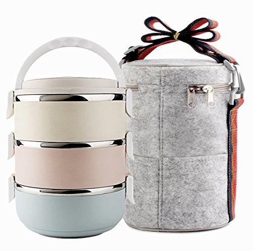 Lunchbox aus Edelstahl, Aufbewahrungsbehälter für Lebensmittel, 3 Ebenen, Vakuumisolierung, fürs Büro oder für Picknicks Lunch Box Set