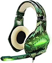 TURN RAISE Upgraded Gaming Headset with Mic for PS4, Laptop, Xbox One, Mac, iPad, Over Ear Headphones PS4 Headset Xbox One Headset with Surround Sound, LED Light & Noise Canceling Microphone (Camo)