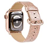 TOYOUTHS Glitter Leather Bands Compatible with Apple Watch Bands Rose Gold 42mm 44mm Womens Bling Diamond Dressy Genuine Shiny Strap for iWatch Series 5 4 3 2 1 Sports & Edition