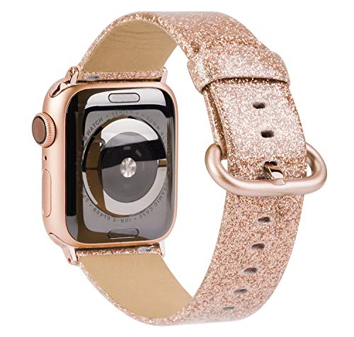TOYOUTHS Glitter Leather Bands Compatible with Christmas Apple Watch Bands Rose Gold 42mm 44mm Womens Bling Diamond Dressy Genuine Shiny Strap for iWatch Series SE 6 5 4 3 2 1