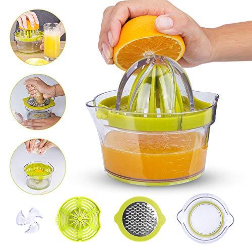 Lemon Squeezer, McoMce  Manual Hand Lemon Juicer, Orange Citrus Juicer with Built-in Measuring Cup, 4 in 1 Multifunctional Lime Squeezer Manual Juicer with Multi-Size Reamers and Ginger Garlic Grater