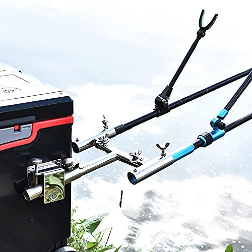 ZHIWUJIA Soporte para caña de Pescar Propósito de Pesca Soporte de caña de Pescar Pesca de la Carpa Marco de Poste de Metal Soporte Doble Titular de la caña de Pescar Poste de Pescado Accesorios