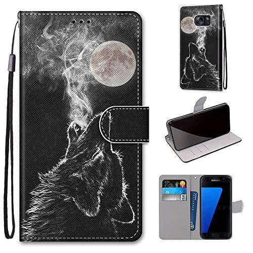 Miagon Flip PU Leder Schutzhülle für Samsung Galaxy S6,Bunt Muster Hülle Brieftasche Case Cover Ständer mit Kartenfächer Trageschlaufe,Heulen Wolf