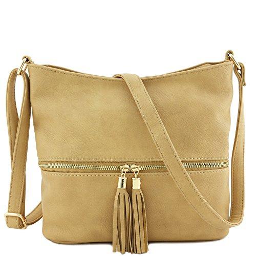 Tassel Zipper Bucket Crossbody Bag (Tan)